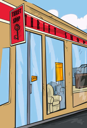 thrift: Thrift shop from the outside. Street view Illustration
