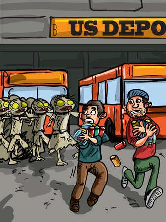 depot: Zombie attack at bus depot. Running in fear Illustration