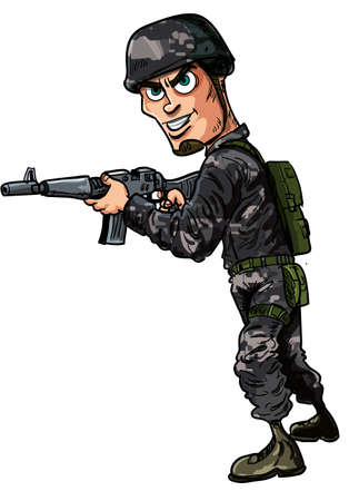 Cartoon modern soldier with a rifle  Isolated Stock Vector - 22777423