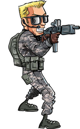 american army: Cartoon illustration of a Soldier with a sub machine gun  Isolated Illustration