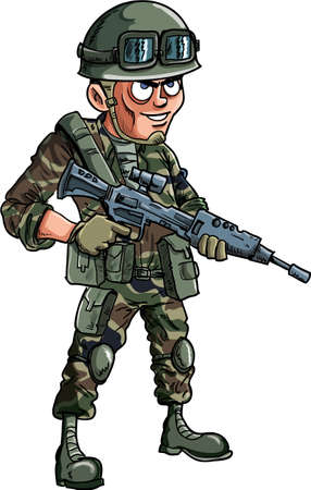 american army: Illustration of cartoon soldier with a rifle Isolated Illustration