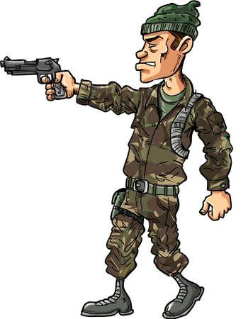 cartoon soldat: Cartoon Soldat mit einer Pistole isoliert