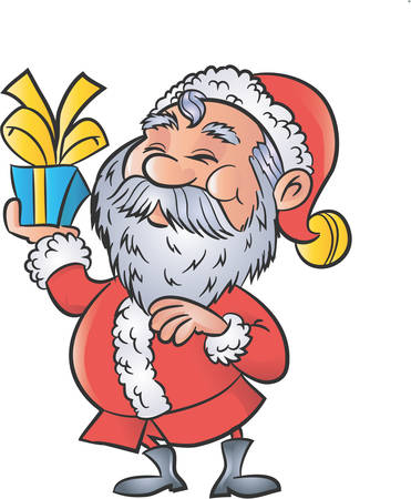 oldman: Cartoon Santa with a christmas gift. Isolated