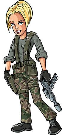 feminino: Desenhos animados loira mulher soldado com uma metralhadora sub
