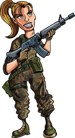cartoon soldat: Cartoon Soldatin mit Sturmgewehr auf weiß isoliert