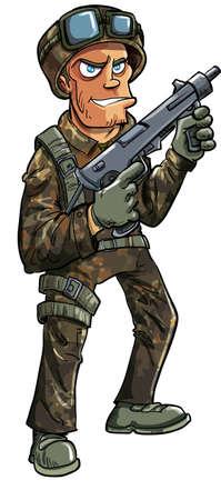 cartoon soldat: Cartoon Soldat mit Maschinengewehr auf weißem Illustration
