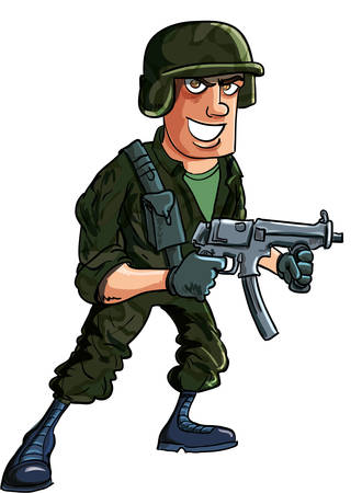 Cartoon soldier with sub machine gun  Isolated on white Vector
