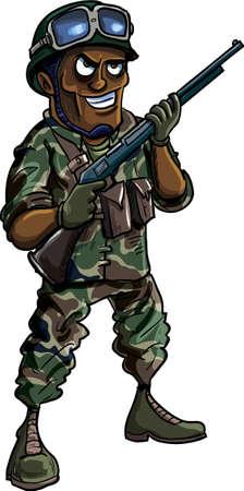 cartoon soldat: Cartoon Soldat mit einer Schrotflinte auf weißem