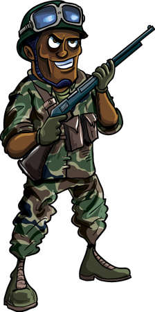 Cartoon soldier with a shotgun  Isolated on white Vector
