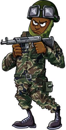 cartoon soldat: Schwarz Cartoon Soldat mit Gewehr auf weißem isoliert