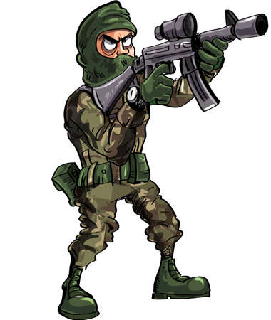 Cartoon soldier with gun and balaclava  Isolated on white Stock Vector - 22777437