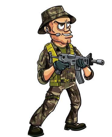 действие: Солдат с суб пулемет Изолированные на белом