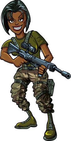 mujer soldado: Mujer soldado negro con el rifle de asalto aislado en blanco Vectores