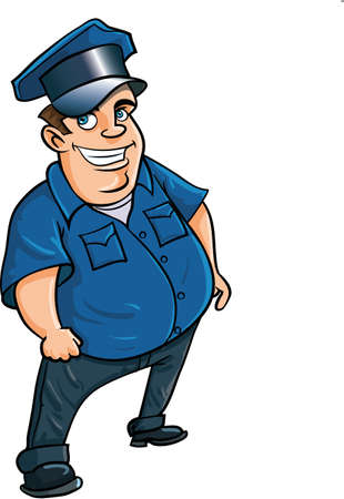 Fat jolly cartoon policeman. Isolated on white Stock Vector - 22777442