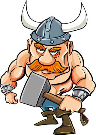shirtless: Cartoon viking with a big hammer. Isolated on white
