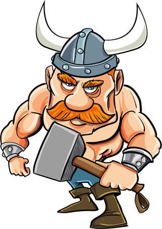 braqueur: Viking de dessin anim� avec un gros marteau. Isol� sur fond blanc