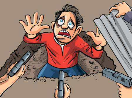 Man has been caught in a hole. His hands are up Illustration