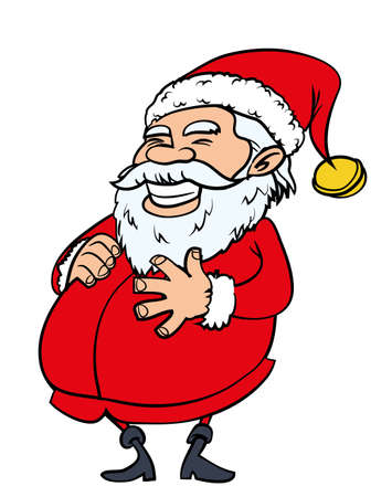 big belly: Happy Santa with a big belly. Isolated on white Illustration
