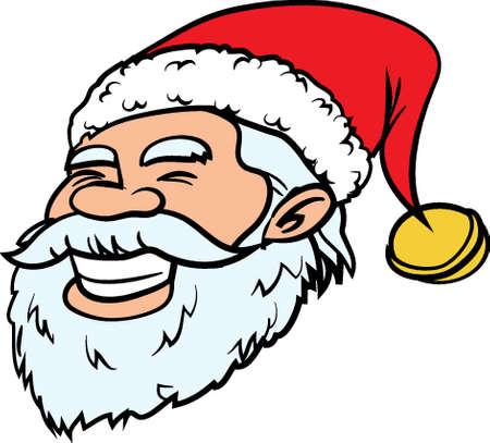 Cartoon smiling Santa head. Isolated on white