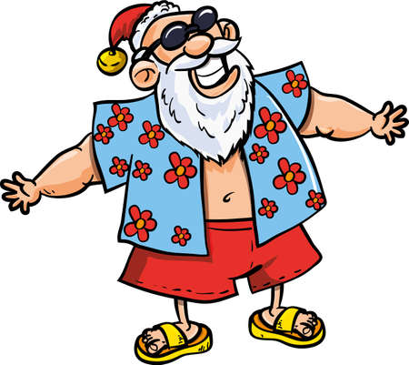 Cartoon Santa on vacation  Isolated on white Vector