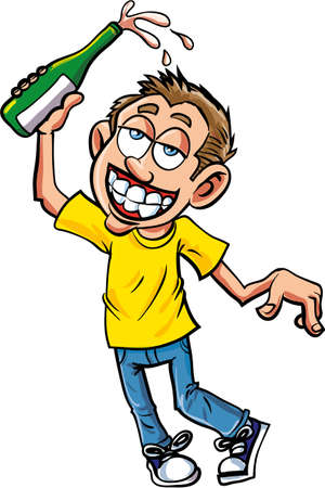 adolescent: Cartoon of celebrating dunk with champagne bottle
