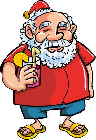 Cartoon Santa relaxing with a cocktail. Isolated on white Vector