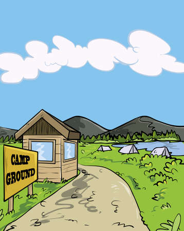 �back ground�: Camp ground cartoon illustration. Sky in the back ground Illustration