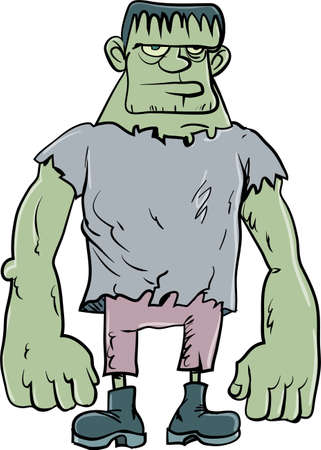 Cartoon Frankenstein monster. Isolated on white