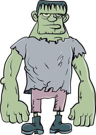 cartoon frankenstein: Cartoon Frankenstein monster. Isolated on white
