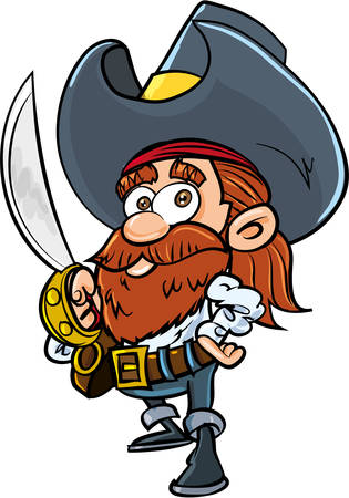 cutlass: Cute cartoon pirate with a cutlass. Isolated on white Illustration