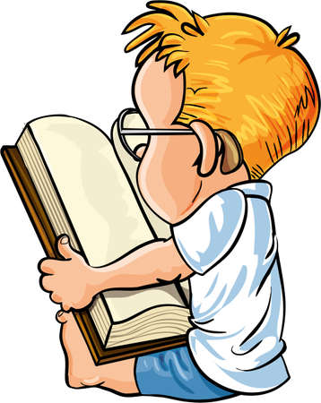schoolwork: Cartoon little boy reading a big book, isolated on white Illustration