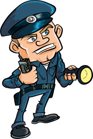 Cartoon security guard with flashlight. Isolated on white Stock Illustratie