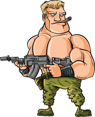 Cartoon muscle soldier with big machine gun. Isolated Vector