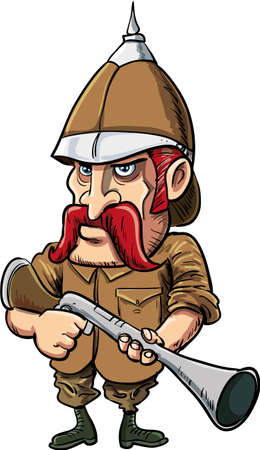 pith: Cartoon big game hunter with pith helmet. Isolated on white