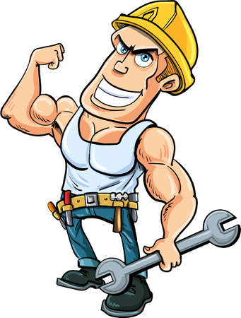 holds: Cartoon handyman flexing his muscles, he holds a wrench.Isolated