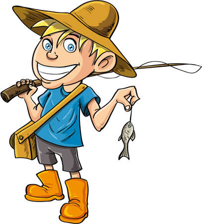 fishing catches: Cartoon fisherman with a tiny fish. Isolated