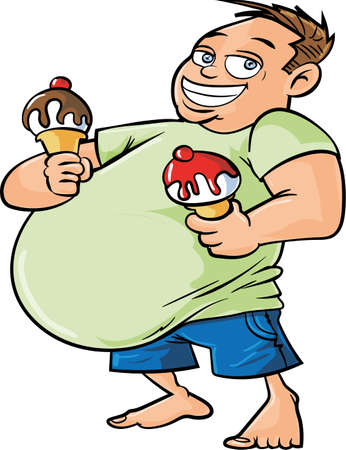 big smile: Cartoon overweight man holding two ice creams. Isolated
