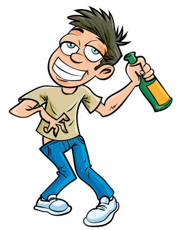 Cartoon drunk man with champagne bottle. Isolated