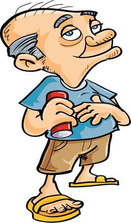 Cute cartoon old man drinking. Isolated Vector