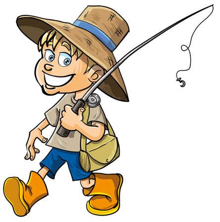canna pesca: Pescatore di cartone animato con una canna da pesca. Isolato Vettoriali