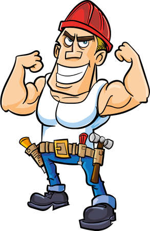 Cartoon worker flexing his muscles. Isolated Vector