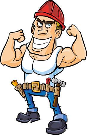 cartoon worker: Trabajador Cartoon flexionar sus m�sculos. Aislado