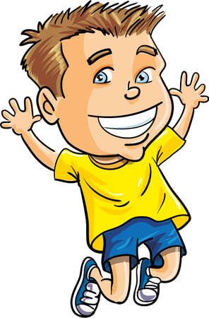 lad: Muchacho de la historieta que salta para la alegr�a. Aislado