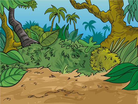 Jungle scene with trees large leaves and palm trees, Blue sky behind Vector