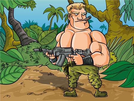 Cartoon muscled soldier in the jungle with his gun Vector