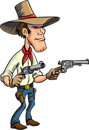 Cartoon cowboy drawing guns. Isolated on white