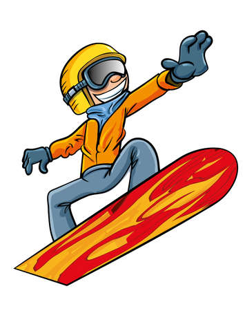 Cartoon snowboarder flying through the air. Isolated on white Vector