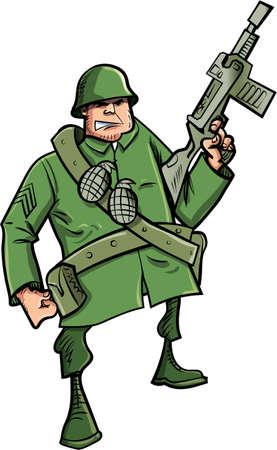 Cartoon Soldat mit Maschinengewehr. Isoliert auf weiß Illustration