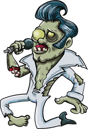 Cartoon singing zombie Elvis. Isolated on white Stock Illustratie