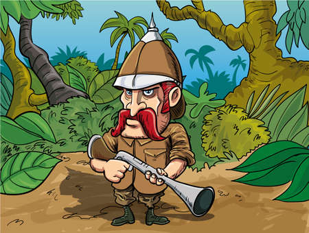Cartoon big game hunter in a jungle setting Vector